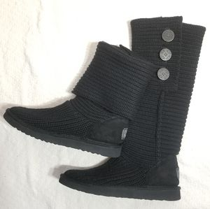Ugg Cardy Classic Black Knit Sweater Boots 8